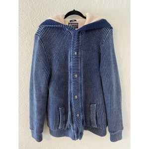Mens Blue Fur Knit Button up Jacket